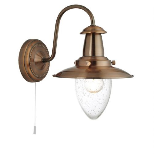 Fisherman Copper Wall Light With Seeded Glass Shade 5331-1Cu